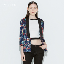 Винг 2017 женщин осень блейзер печати три четверти рукав свободно пиджак женский одной кнопки Blazer