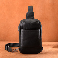 Difenise Men Plane Tanned Genuine Leather Chest Pack Fashion Men's Oblique Cross Chest Package Handmade Handbags with Retail Box