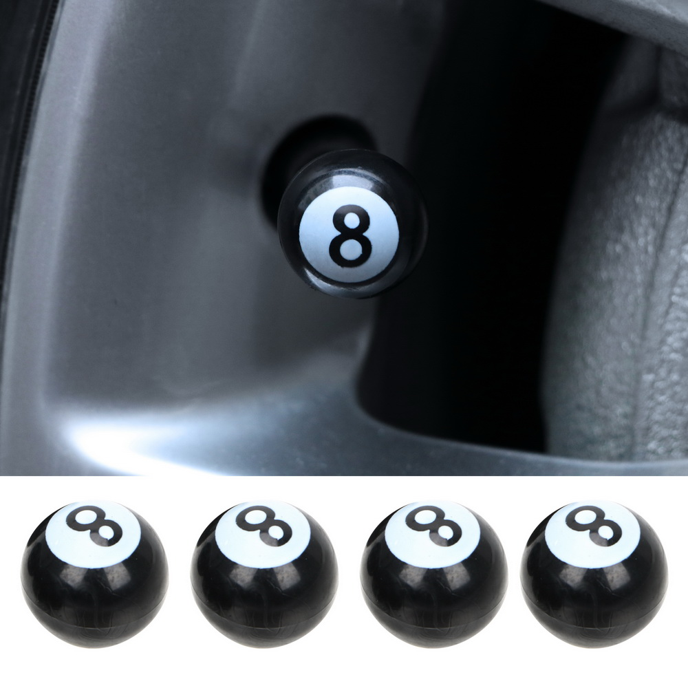 4PCS Universal Car Tire Air Valve Caps Tyre Air Valve Stem Caps For Motorcycle Bikes Wheels Rims Covers Black NO.8 Balls Caps