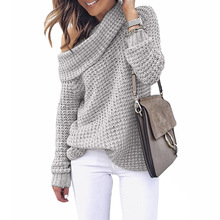 Autumn Winter Women Slash Neck Knitted Sweaters Loose Off Shoulder Pullovers Solid Color Tops