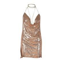 jinggton oval 2017 Summer Womens Backless Sequin Dress Ladies Kendall Chain Choker Slip Dress