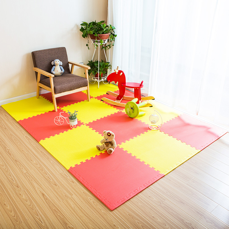 JCC mélange feuille motif bébé EVA mousse Puzzle tapis de jeu/enfants tapis tapis de verrouillage exercice plancher pour enfants carreaux 60*60*1.2 cm - 3