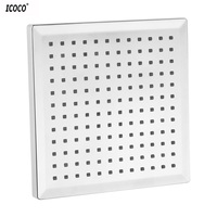 ICOCO 7 Color Changing 8 Inch Chrome Finish Rainfall Square LED Shower Head Lighting Bathroom ShowerWater Saving Bath Shower