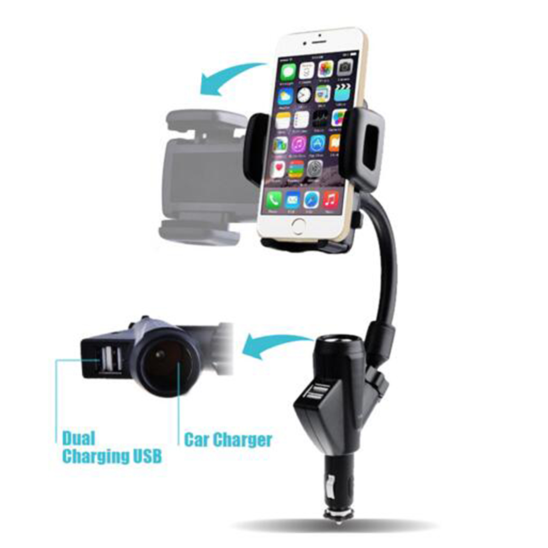 Dewtreetali Hot Sale Car Phone Holder Dual USB Cigarette Lighter Charging Mobile 360 Degree Rotating Mount Stand for iphone Sams