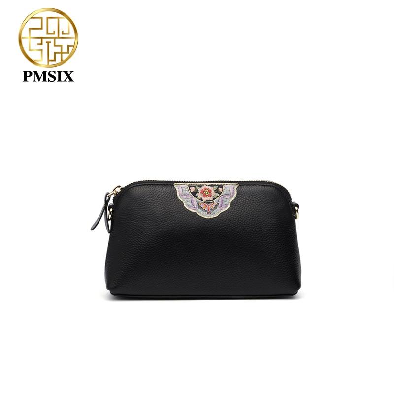 Pmsix 2018 Женская Повседневная Ретро сумка натуральная кожа сумки для женщин простой вышивка цветы женщины сумка P210050