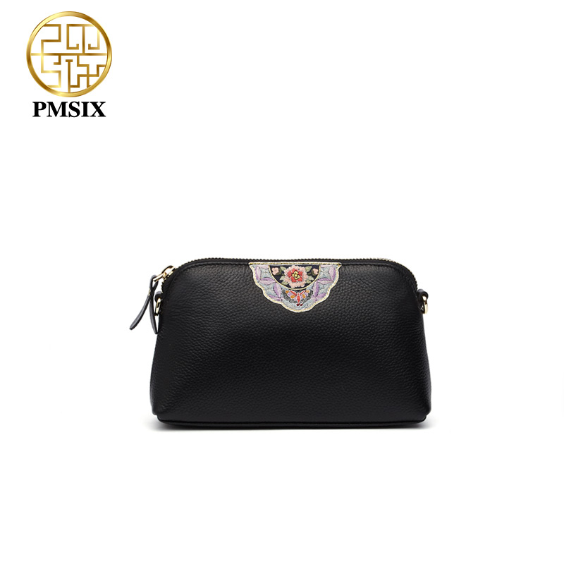 Pmsix 2018 Woman's casual retro bag genuine leather bags for women Simple Embroidery Flowers women shoulder bag P210050 elsie mochrie simple embroidery