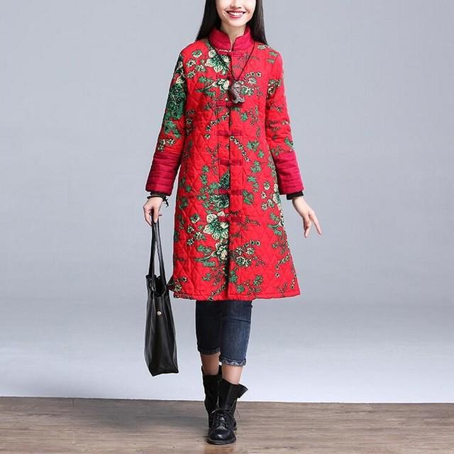 Mulheres quentes Jaqueta Tradicional Chinesa Roupas 2016 Casaco de Inverno Mulheres Blusão de Manga Comprida Patchwork Mulheres Encabeça Flor Sobretudo
