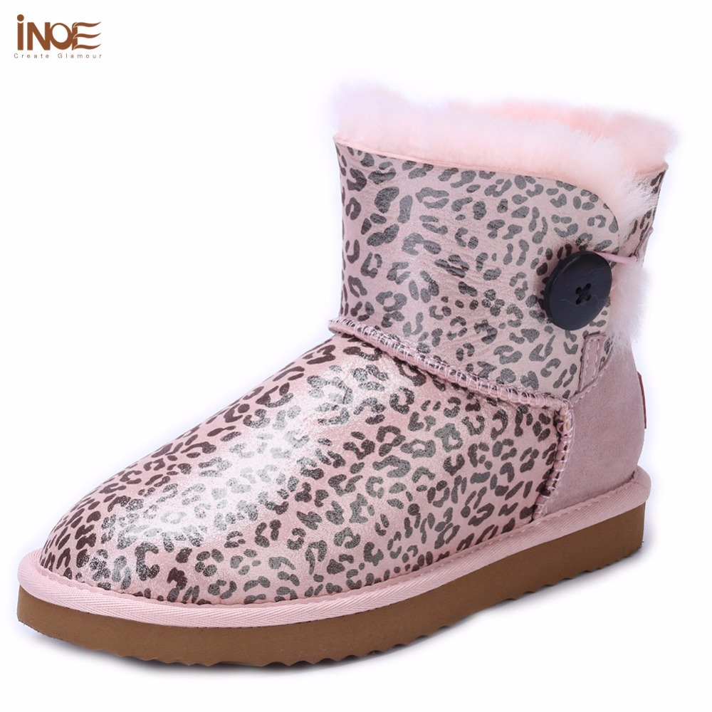 INOE sheepskin leather natural wool fur lined big girls short ankle winter snow boots for women winter shoes black waterproof