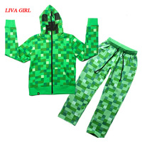 Children Boys Minecraft Halloween Creeper Costume Teen Spring Autumn Funny Green Zip Up Hoodie Sweatshirt Suit