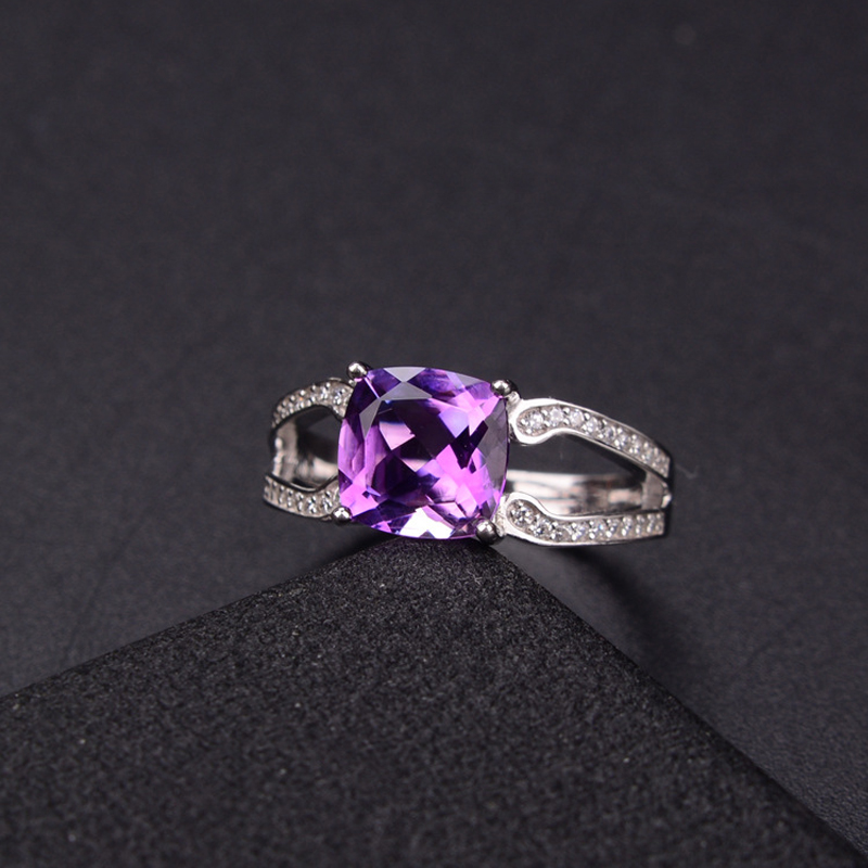 ZT Classic Natural Amethyst Jewelry Female Rings Women 925 Sterling Silver White Or Rose Color Rings Jeweley For Women Ring 6pcs of stylish color glazed round rings for women