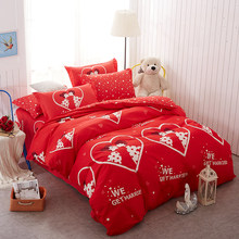 Home Textile Chinese Wedding Bedding Sets Twin Full Queen King Size Red Duvet Quilt Cover Love Pillowcases Flat Sheet Bedclothes(China)