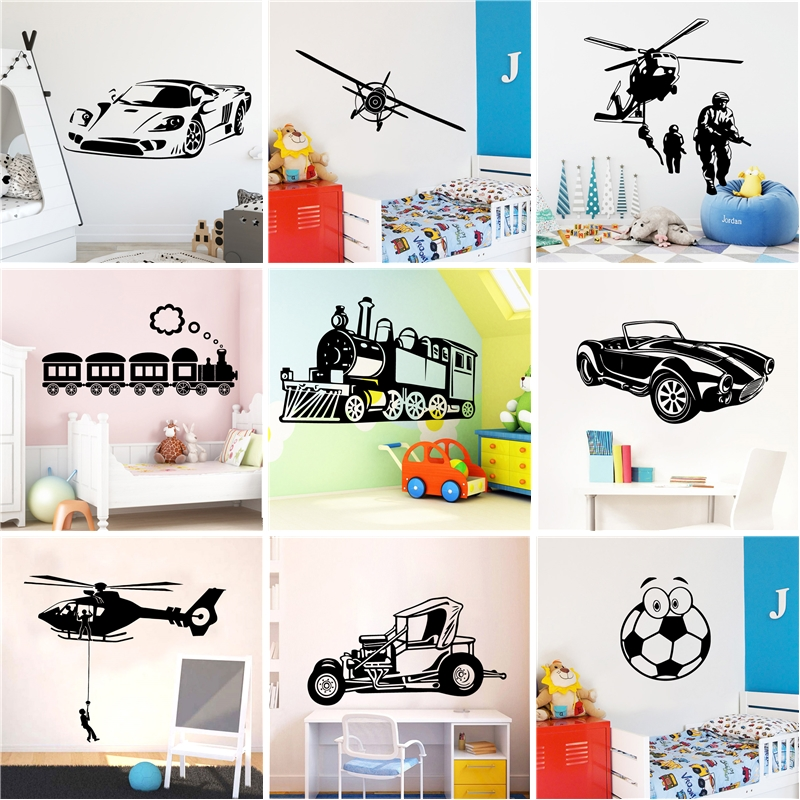 NEW football car airplane Wall Art Decal Sticker For Boys Game Room Nursery Kids Room Wall Decoration Mural Vinyl Stickers image
