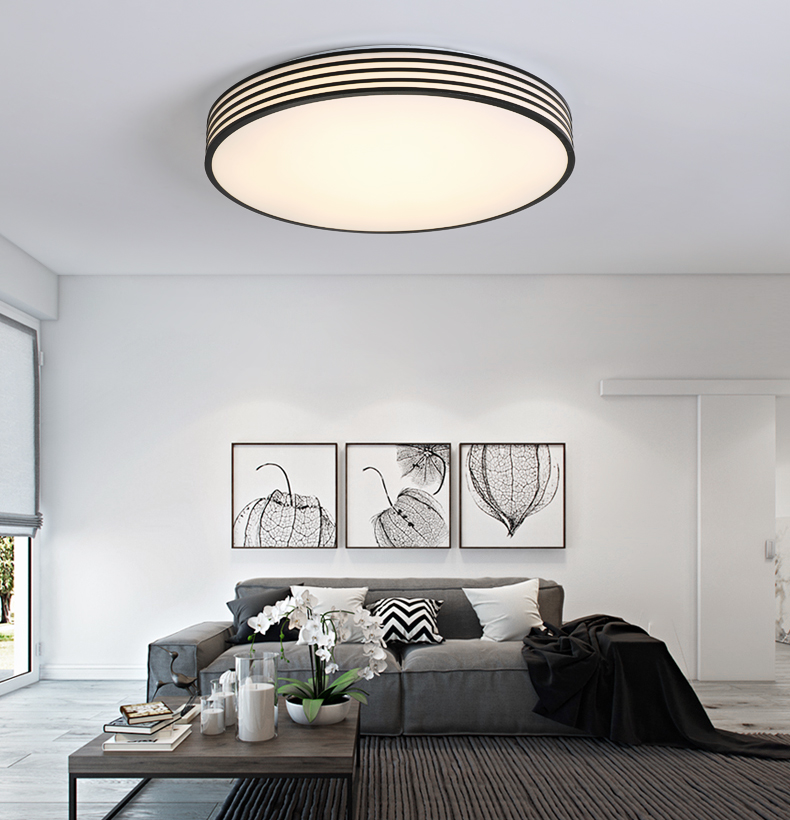 Modern LED Ceiling Lights Simple Lighting Fixture Surface Mounted Round Indoor Lamp for Living Room Bedroom Stripe Dimmable Home цена 2017