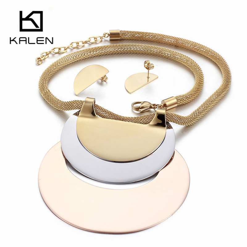 Kalen Hyperbole Jewelry Sets For Women African Gold Stainless Steel Big Pendant Statement Necklace & Earrings Set For Patry 2017 chic rhinestone african plate shape pendant necklace and earrings for women