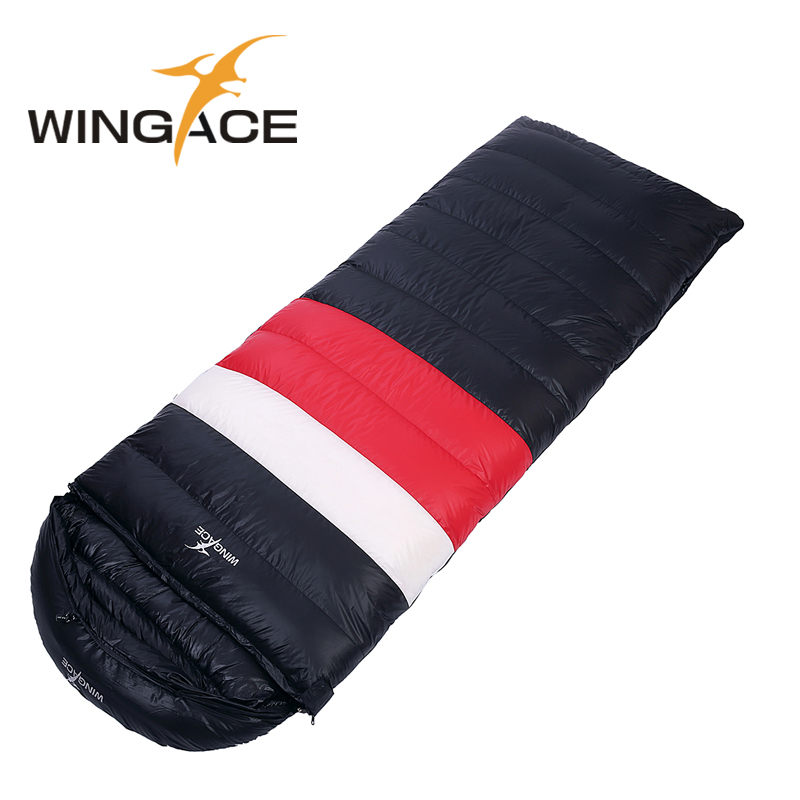 WINGACE Fill 1000G Goose Down Ultralight Camping Sleeping Bag 3 Season Envelope Outdoor Travel Sleeping Bags Adult 210*80CM wingace envelope double sleeping bags fill 2500g 95