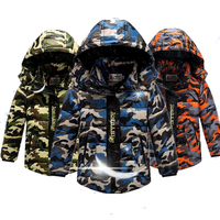 (GAROTO DA ESTAÇÃO) Camo 80% WDD Inverno Para Baixo Bebê Casaco Outwear Jaqueta À Prova de Vento Casaco Quente Menino Roupa dos miúdos 4-12 anos