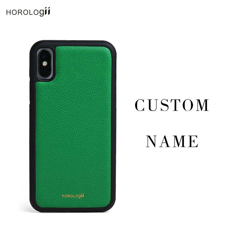 Horologii CUSTOM INITIALS FREE phone bumper case for Iphone X 7 plus Real cow le