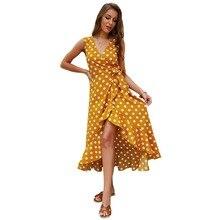 купить women summer long dress 2019 sleeveless v-neck polka dot wrap dress plus size clothing beach boho loose ruffle dress C3121 дешево