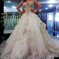 Vestido de Noiva 2016 Com Cristal de luxo Incrível Vestidos de Casamento Colher Macio Tule Vestidos de Noiva vestido de noiva Frete Grátis