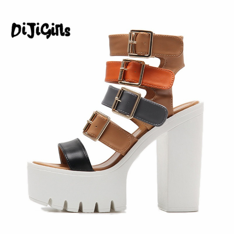 Women Sandals High Heels 2017 New Summer Fashion Buckle Female Gladiator Sandals Platform Shoes Woman Black Size 35-39 phyanic wedges gladiator sandals 2017 new bling glitters high heels summer platform shoes woman casual creepers xdy8006