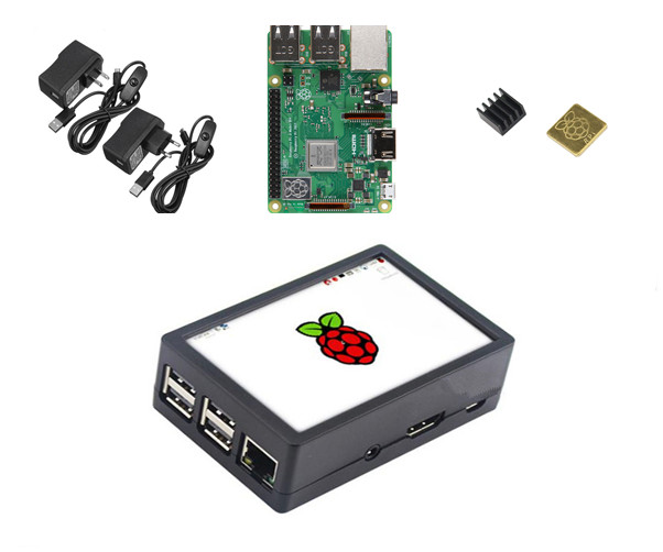 Raspberry Pi Model 3 B Starter Kit w 3 5inch 128M SPI LCD Display Power Heat
