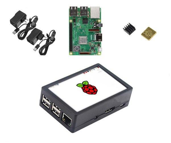 Raspberry Pi Modelo 3 B + Kit de inicio con 3,5 pulgadas 128 M SPI LCD pantalla potencia disipador de calor