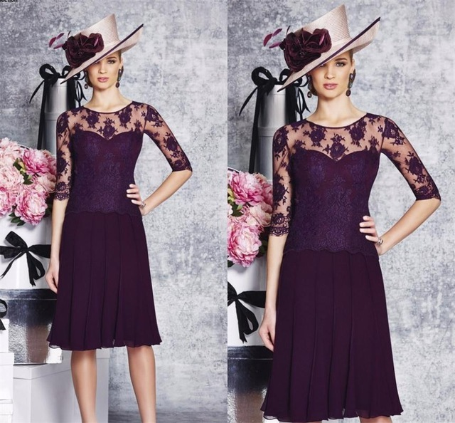 2017 Modest Purple Mother of the Bride Dress Half Sleeves Knee Length Formal Evening Party Gowns Plus Size Mother Dress of Groom