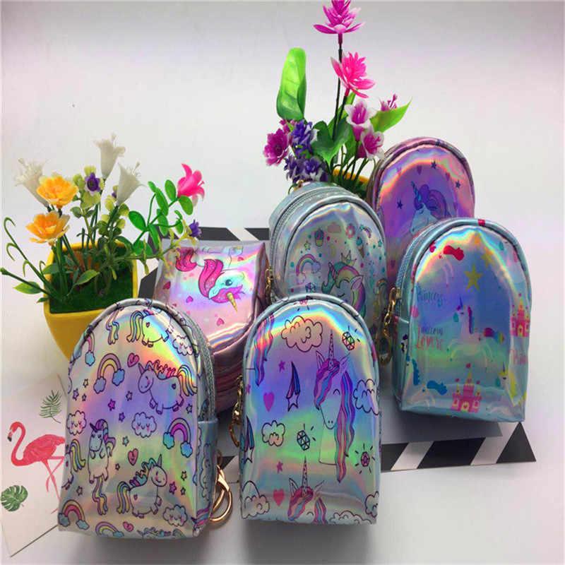 Fantezi ve Fantezi Moda Çanta Şekilli Unicorn Anahtarlık Sevimli bozuk para cüzdanı Fermuar Mini Lazer cüzdan bulucu Zincir Çanta Çanta uğurlu takı