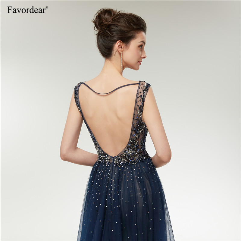 74fbb4b497f4b Favordear Sexy Deep V Neck Navy Blue Sparkly A Line Backless Evening Gowns  Formal Party Dresses Hot Sale