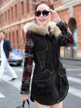2014 New Winter Raccoon Fur Collar Long Cotton Padded Denim Coat Women Knit Sleeve Stitching Print Hooded Denim Jacket A1465