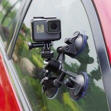 Üçlü Emme Kupası Dağı standı Araba enayi kamera tutucu ile Gopro Hero 3 için 360 derece rotasyon tripod ve emniyet halatı 4 5 6
