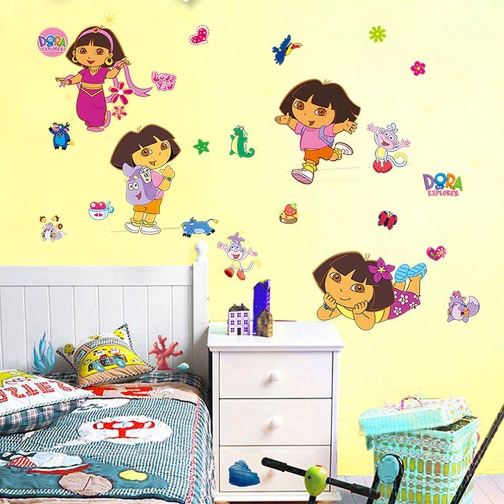 cartoon Dora wall Stickers for kids girls bedroom wall sticker diy ...