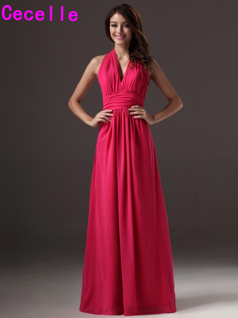 Fuchsia Long Beach Chiffon   Bridesmaid     Dresses   Sleeveless Pleats A-line Formal Sexy V Neck Women Wedding Party   Dresses   2019 New