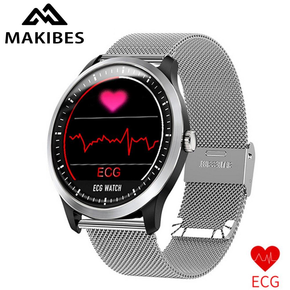Makibes BR4 ECG PPG montre intelligente hommes avec affichage électrocardiogramme fréquence cardiaque pression artérielle bande intelligente Tracker de Fitness nouveau