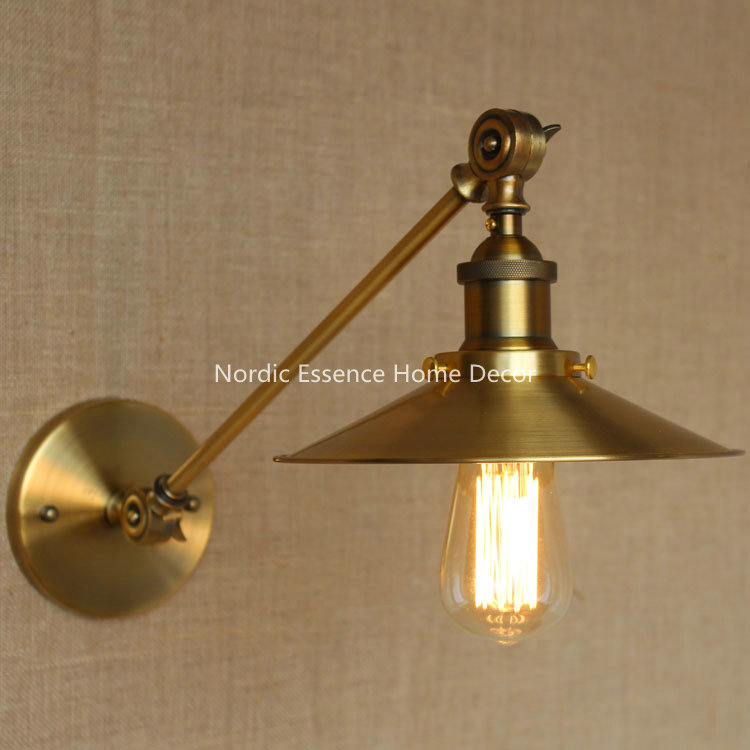 Nordic loft creative LOFT Milan industrial style modern bedroom study long arm living room villa copper bronze wall sconce lamp american creative fashion led the study bedroom mirror before the long arm of the head of a bed wall lamp wrought iron long arm
