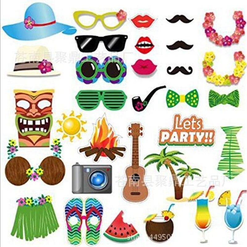 Un conjunto de verano fiesta de playa hawaii fiesta adornos para foto cabina accesorios gafas divertidas 3 colores recién nacido madera Props posando cestas para fotografía Props bebé fotografía bebé posando disparar Vintage recién nacido Prop