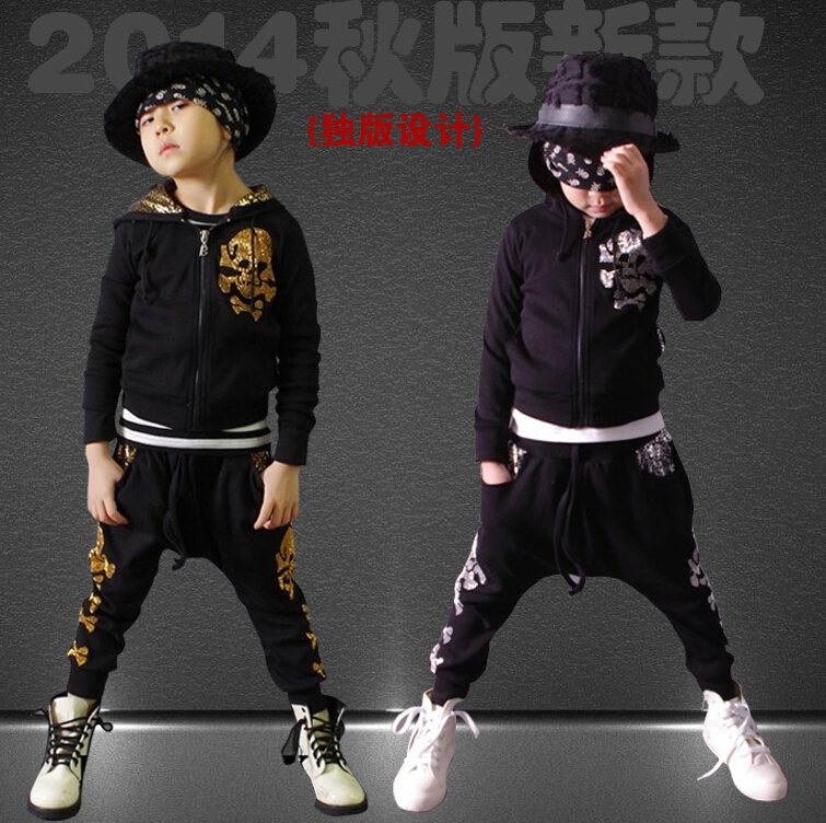 2014 New fashion Autumn children's clothing set Costumes sweatshirt skull dance Hip Hop harem pants kids  suits Wholesale wholesale new fashion autumn casual sport suits tracksuits for kids gold chain printing hip hop outwear boys clothing sets