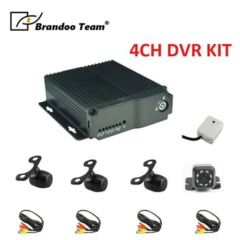 4ch mobile dvr 4 Channel H.264 SD Car Vehicle Mobile DVR Kits 4CH Video Record Car Dvr MDVR + 4pcs cameras