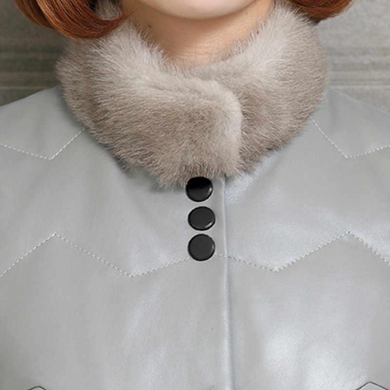 Tcyeek/Роскошные Куртки из натуральной кожи для женщин; пальто из натуральной овчины; Женская Длинная толстая теплая пуховая парка из натурального меха норки; пальто LWL1267