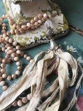 boho glass crystal bead necklace with glam sari silk tassel