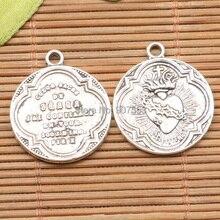 20 шт тибетский серебряный тон круглой формы религиозный крест дизайн талисманы H0270