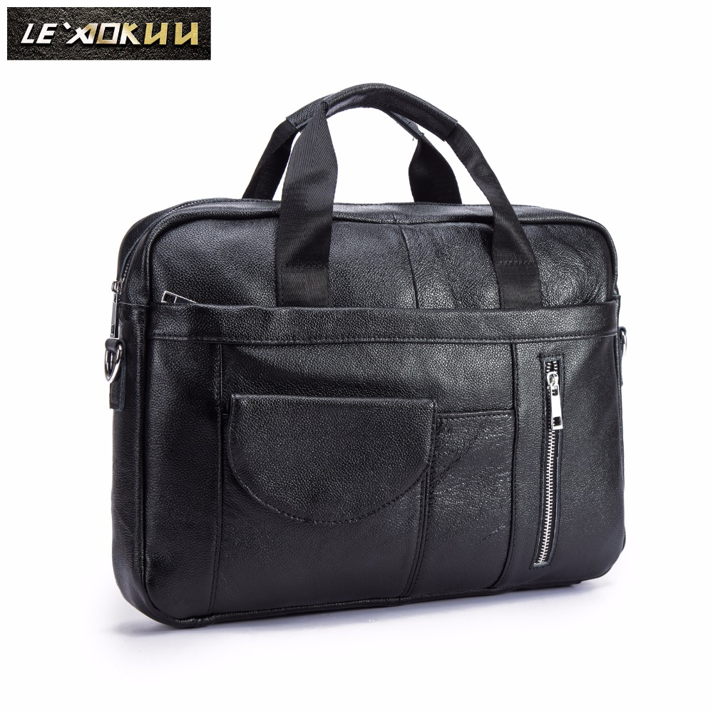 Men Oil Waxy Leather Antique Design Black Business Briefcase 16
