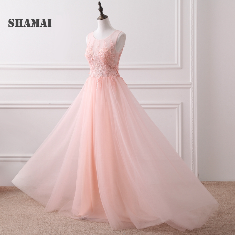 SHAMAI Long   Bridesmaid     Dresses   Wedding Party   Dress   Appliques Pearls A-Line Pleated Tulle Pink   Bridesmaids     Dresses