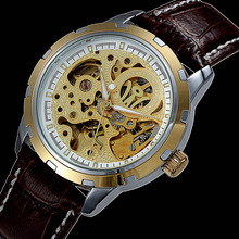 2019 NEWEST Hollow dial Skeleton Watches OUYAWEI Top Brand Luxury Gold watch Men Sport Leather Strap Mechanical Wristwatches