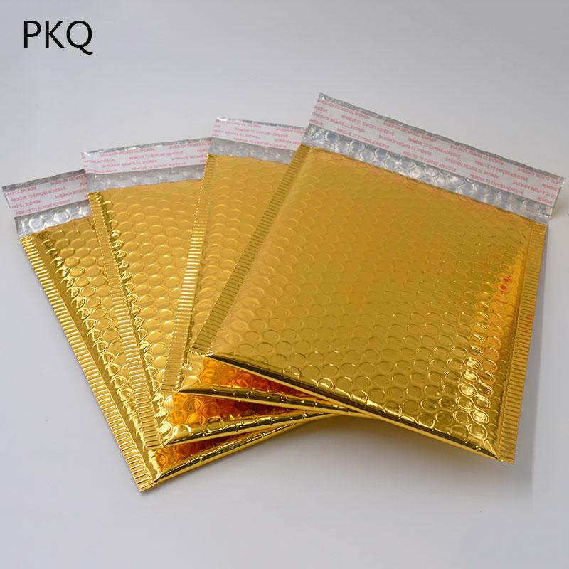 50PC 3Size 15*13cm/18*23cm/20*25cm Gold Padded Shipping Envelope Metallic Bubble Mailer Gold Aluminum Foil Gift Bag Packing WrapPaper Envelopes   -