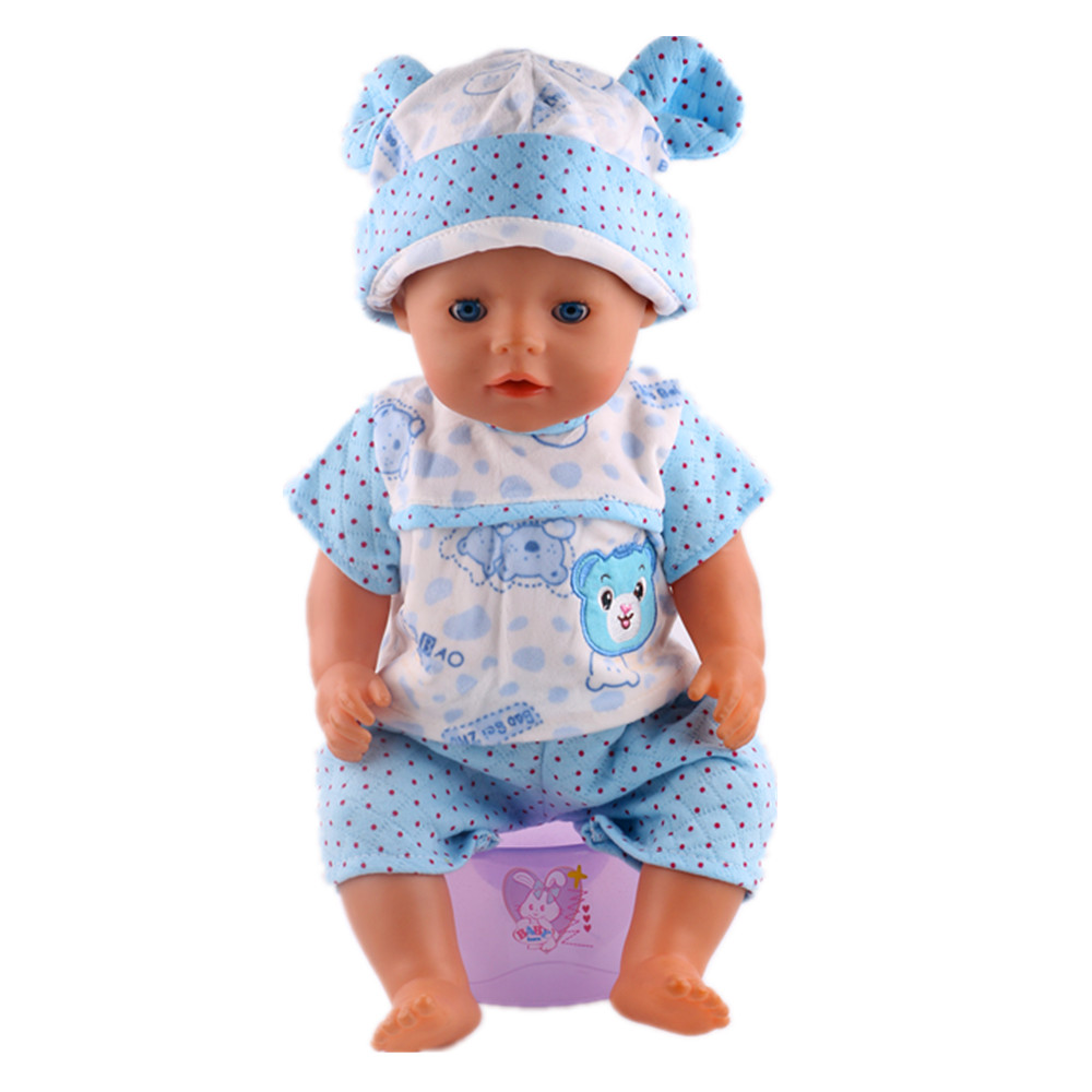Fleta Free shipp Fleta 2017 Blue and white bear print pajamas for zapf 43cm doll. Give the child the best Christmas gift n287