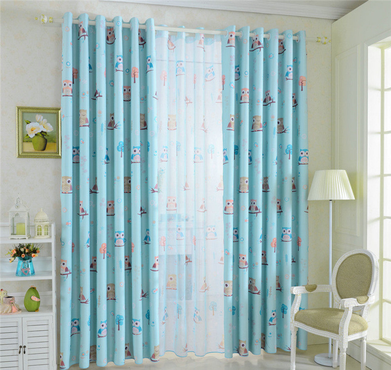 Cartoon Trees Curtains For Kids Boys Bedroom Blinds Linen: Mordern Cartoon Owl Window Blankout Sheer Curtains For