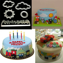 TTLIFE 5pcs Fondant Cutter Cloud Plastic Cake/Cookie/Buscuit Mold Cake Decorating Tools Sugarcraft