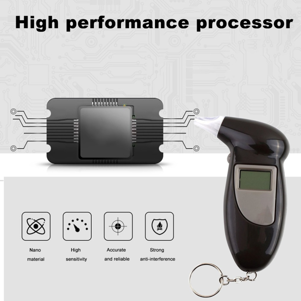 LCD Digital Breath Alcohol Tester Police Analyzer Detector Breathalyzer Test