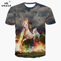 YK UNCLE Brand 2017 New Cat Knight White Horse Jet Colorful Flame 3D T shirt Tops Tee Short Sleeve Summer Tee Shirts